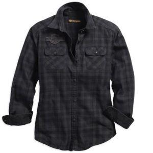 Harley Davidson plaid button long sleeve shirt NWT